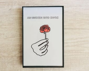 An Unseen Bird Sings, 4x6 inch print, ink & crayon, Basic Forms, chance operations, art, drawing, minimalist, flowers, hands