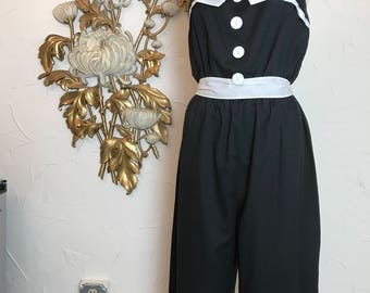 1980s jumpsuit cotton jumpsuit black and white plus size large vintage jumpsuit sleeveless jumpsuit casual jumpsuit vintage pantsuit