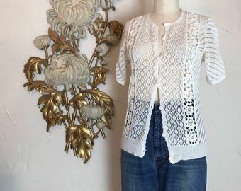 1980s sweater crochet top white cardigan size medium Vintage cardigan knit sweater short sleeve asian sweater