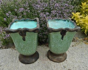 Two Victorian Style Vases  Turquoise and rusty finish