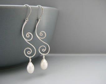 Modern Art Nouveau Earrings, ivory freshwater drop pearl, June birthday wedding jewelry - Swirl