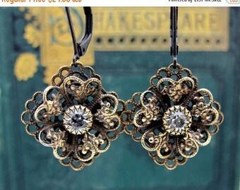 rhinestone earrings, brass flower earrings, Victorian flower earrings, rhinestone earrings, gift for her, Holiday earrings, gift for mom
