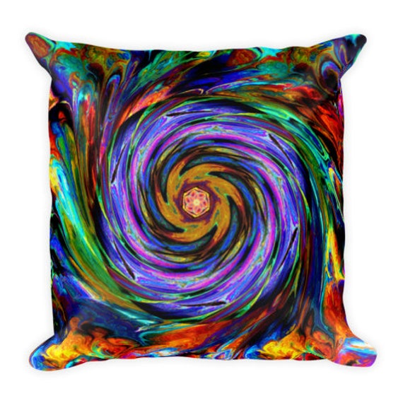 Colorful Decorative Designer Artist Created Pillow 16 inch Square with Zipper and Insert