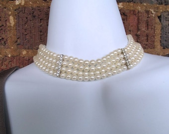 4 Strand Glass Pearl Choker Necklace, Pearl Collar, Classic Pearl Necklace, Vintage Wedding, Prom Jewelry, Pearl Bride Necklace, Elegant