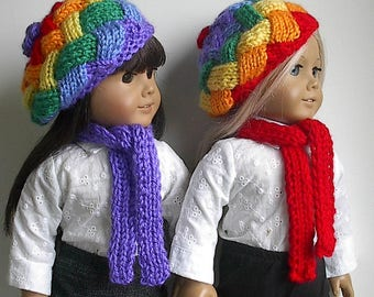18 Inch Doll Clothes - Knit Entrelac Basketweave Beret in Primary Rainbow Colors and a Solid Color Scarf Made to fit the American Girl Doll