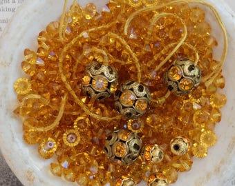Vintage Filigree Beads 5mm Swarovski Beads Topaz Spacer