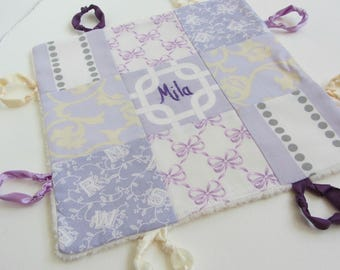 Personalized Baby Lovey Girl Custom Name or Initial Hand Embroidered ~ Choice of Backing Fabric ~ Purple Lavender White ~ Damask Bows Toile