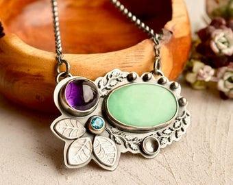 Summer Sale Silver Botanical Necklace, Chrysoprase Necklace, Amethyst Necklace, Gemstone Pendant, Modern Boho Style, Hand Stamped Metalwork,