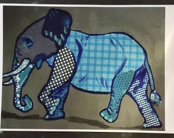Blue Elephant Marching Digital Print From Original Painting