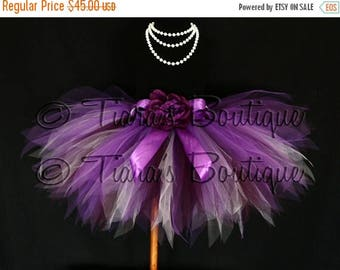 "SUMMER SALE 20% OFF Vibrant Violet Tutu - Plum Purple Lavender Custom Sewn 13"" Pixie Tutu - girls sizes 9 to 12"