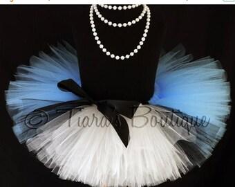 "SUMMER SALE 20% OFF Girls Tutu Skirt, Birthday Tutu, Alice in Wonderland Birthday Tutu, Blue Black White Tutu, Ready To Ship, 8"" Tutu, Alice"