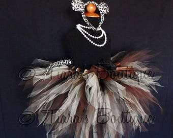 "SUMMER SALE 20% OFF Luxurious Leopard Tutu Costume - Brown Black Beige Pixie Tutu - Custom Sewn 15"" 3 Tiered Pixie Tutu, Ears & Tail - sizes"