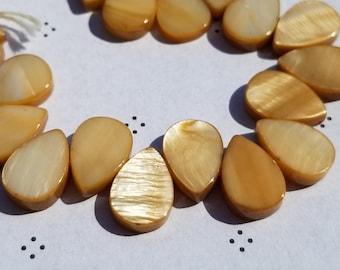 Brown Pale Mother of Pearl flat teardrop Beads