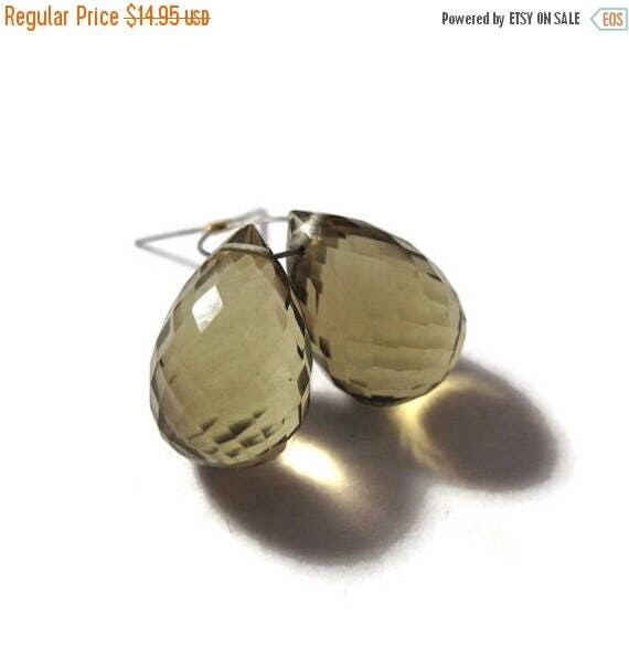 Summer SALEabration - Two Olive Quartz Beads, 2 Gemstone Briolettes, Large Top Drilled Gemstone for Jewelry Making 12mm x 8mm - 13mm x 9mm (