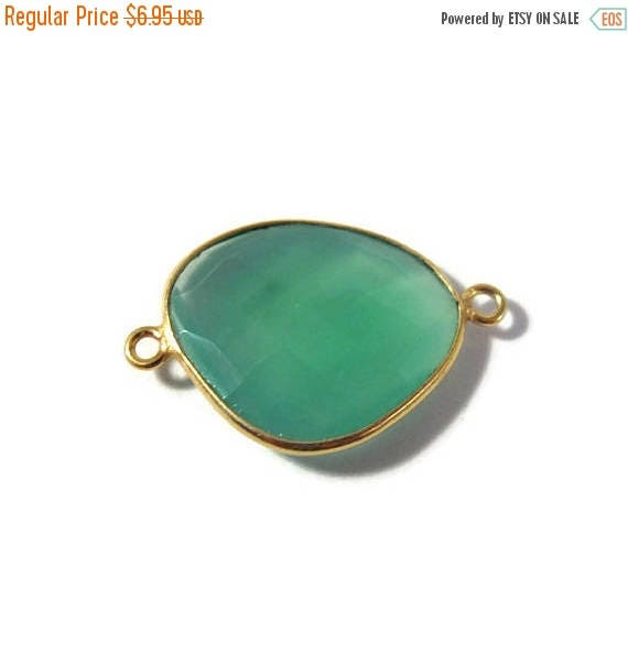 Summer SALEabration - Natural Green Onyx Pendant, Gold Plated Gemstone, Irregular Bezel Set Charm, 26mm x 17mm Charm for Making Jewelry (C-G