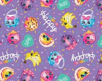 "NEW SHOPKINS Fabric, ""Color Me Happy"" on purple, Yard"