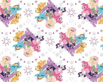 Camelot Fabrics, My Little Pony cotton fabric on White, Hasbro, Yard