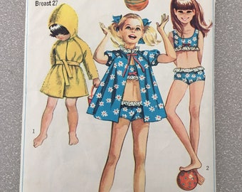 Vintage 1968 Pattern Girls Bathing Suit and Robe Bathing Coat Size 8 Simplicity 60s Sewing 7710