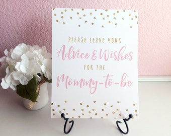 Please Leave Your Advice & Wishes for the Mommy-to-be 8x10 Baby Shower Guest Book Sign - Printed - Light Pink Gold Glitter Polka Dots