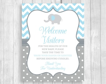 Please Wash Your Hands Printable 8x10 Meet and Greet Baby, Hospital Door Sign Elephant in Light Blue and Gray - Hand Sanitizer Sign