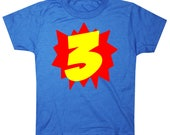 Superhero Third Birthday Shirt 3rd birthday shirt Three boy birthday shirt girls birthday shirt Superhero 3rd Birthday Shirt Boys Birthday