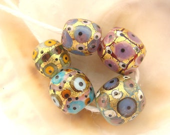 5 Golden Handmade Lampwork Beads
