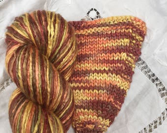 Hand Dyed Worsted weight Silk Yarn - Chocolate Citron (3)