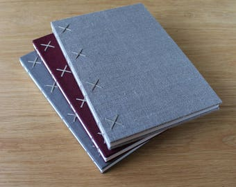 Large Hardcover Coptic Bound Journal with Linen Covers and Patterned Endpapers