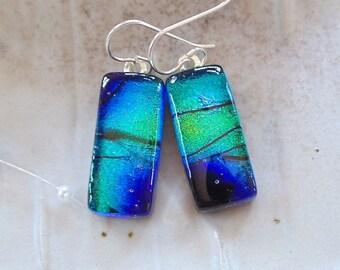 Blue Earrings, Green, Dichroic Glass Earrings, Dangle, Sterling Silver, Black, A9