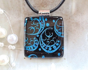 Dichroic Fused Glass Pendant, Glass Jewelry, Cobalt Blue, Black, Necklace Included, A1