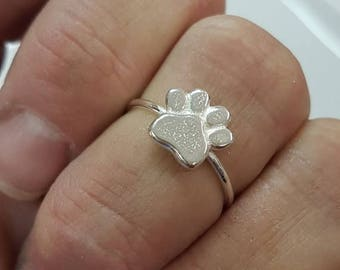 SALE - Dog paw ring, paw print ring sterling silver, dog lover jewelry, stacking ring whimsical