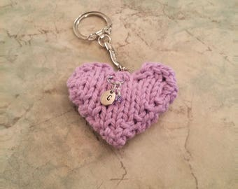 Hand Knit Cotton Heart, Hand Stamped Initial Charm, Hand Wire Wrapped June Birthstone Bead Key Chain, Light Amethyst, Birthday Gift under 20