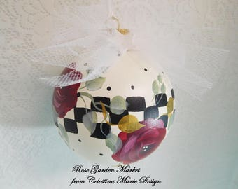 Stately Checked Red Rose Glass Ornament, Hand Painted, Artist Collectible, Designer Christmas Ornament, Holiday Decor, ECS