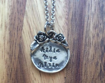 Personalized Necklace - Gift for Her - Nebraska Girl - Silver Necklace - Hand Stamped - Custom Necklace - boho inspired - vintage inspired