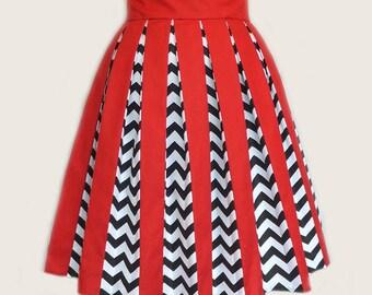 Twin Peaks Inspired Chevrons & Red skirt, Pleats, Custom Size.