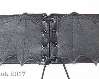Bat Wings Corset Belt, Any Size, 3 inches.
