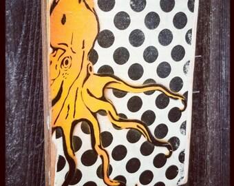 Octopus Polka Dots Custom Made Mixed Media Graffiti Art Painting on Photo Transfer Original Art on Handmade Canvas Home Decor Pop Art