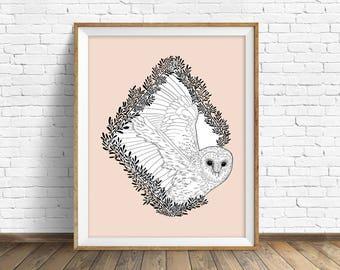 Flights of Fancy - wall art, modern nursery art, woodland nursery wall art, large art, large wall art, modern, owl, barn owl, wall art print