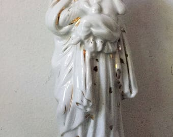 Vintage hand painted Madonna Virgin Mary & Baby Jesus statue - porcelain