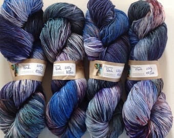 Hand dyed 4ply sock yarn 390 yds approx