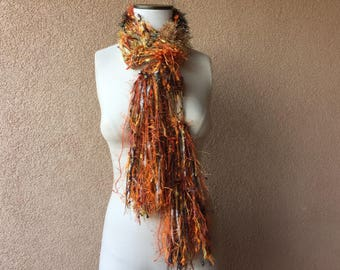 Fall harvest color scarf, orange scarf, lightweight scarf with orange, brown, black, yellow, white, green, Halloween Scarf Autumn Scarf