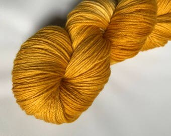 Hand-dyed yarn, Indie dyed yarn, hand dyed yarn GOLD BRACELETS DEEP-- ready to ship -- Times Square sock merino/ nylon yarn