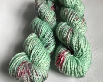 Hand-dyed yarn, Indie dyed yarn, hand dyed yarn I <3 NY Mint T Shirt -- ready to ship -- Flushing Meadows bulky superwash wool yarn
