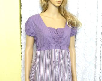 Handmade Tunic Top, Purple Shirt, Womens Top, Upcycled Clothing, Recycled Top, Striped Top, Button Front, Unique Clothing, Eyelet Fabric