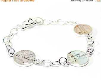 SUMMER SALE Personalized Mom Bracelets Map Charm Bracelet Trio, elegant bracelet