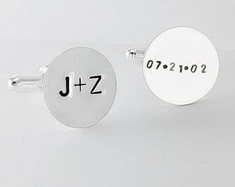 SUMMER SALE Personalized Cufflinks Sterling Silver Hand Stamped, Wedding Date Cuff Links, Initial Cufflinks, Custom Cuff Links, groom gift f