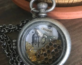 Beekeeper. Real beehive mixed media necklace