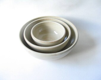 Nesting Bowls, Set of 3 Bowls, Bowls that Nest made in Stoneware