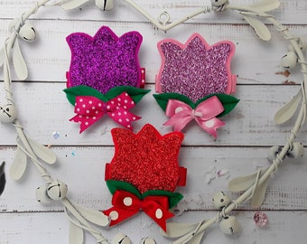 Hair Clips Glitter and Felt Pink,Red, Fuscia Tulip hair clip, tulip hair barrette, glitter and felt tulip brooch pin Single and Pairs