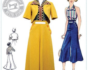 PRINTED PATTERN- Chic Ahoy- 30s Slacks, Halter, & Bolero- Wearing History Sewing Pattern